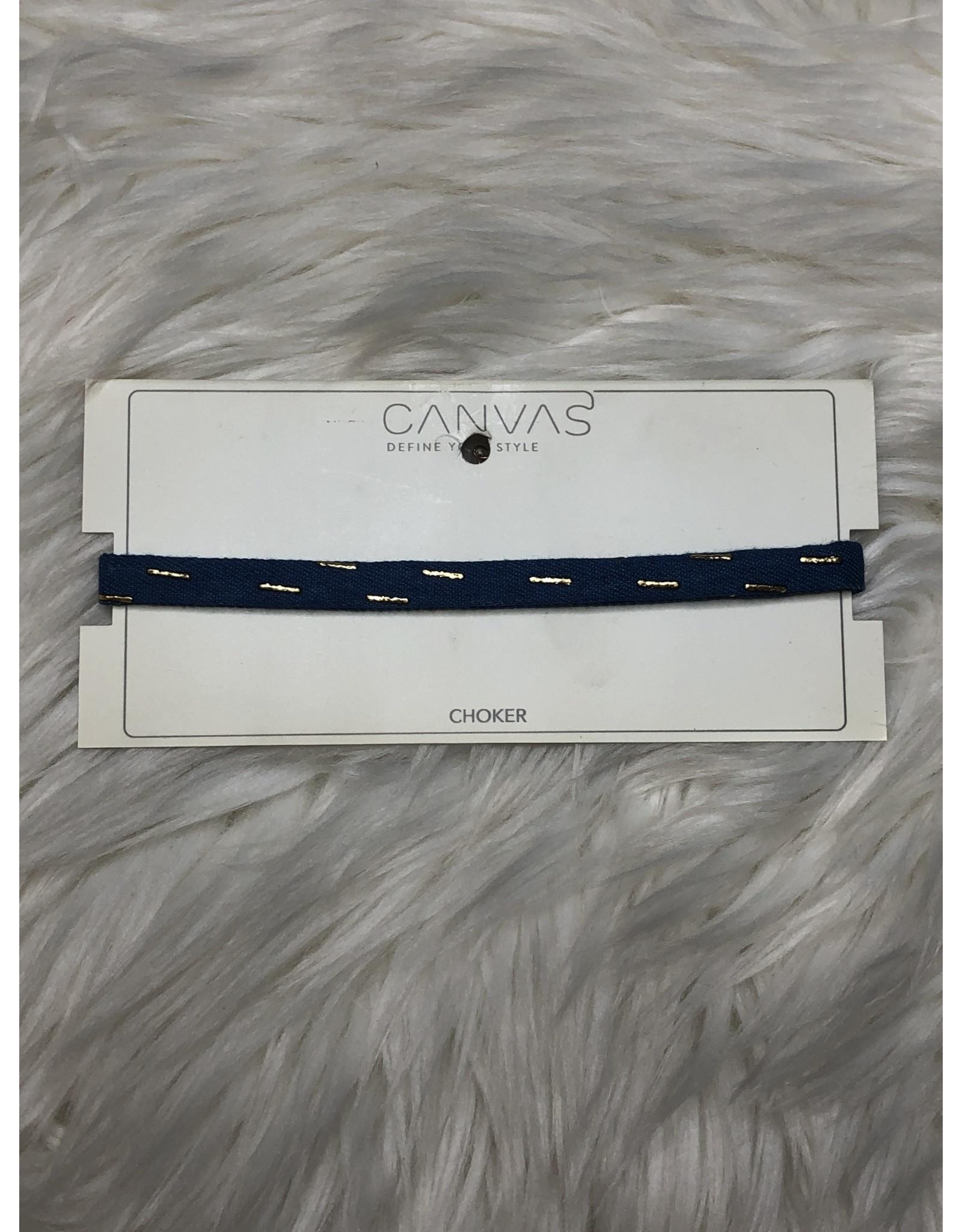 CANVAS Embellished Denim Choker- Blue & Gold