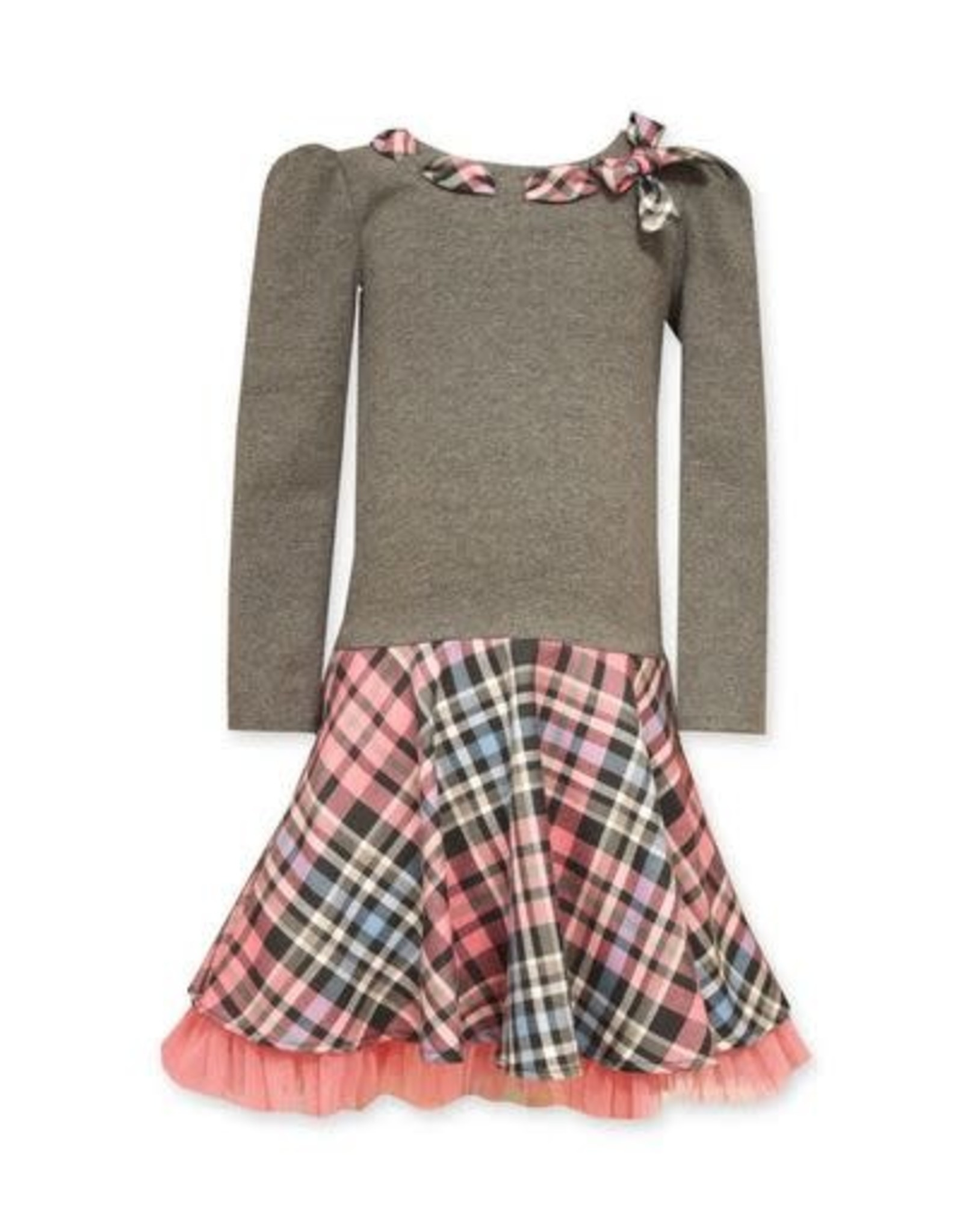 Bonnie Jean Grey Dress with Pink Plaid