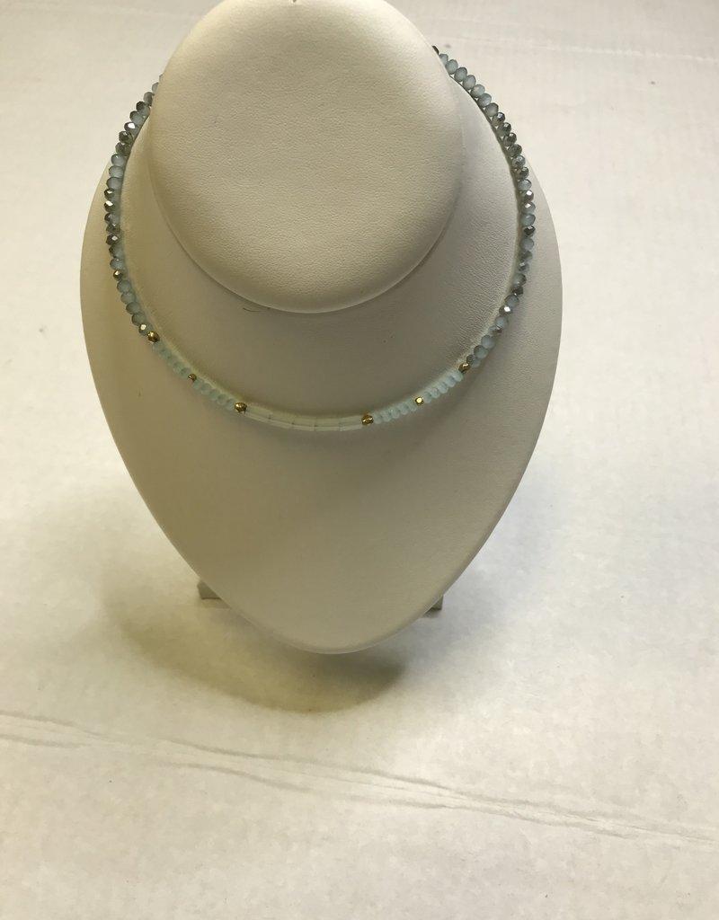 """CANVAS Aqua Glass Bead M Choker 14"""""""