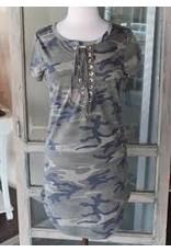 California Moonrise Camo Knit Dress w/ LaceUp Front