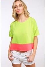 Peach Love Color Block SS Knit Top