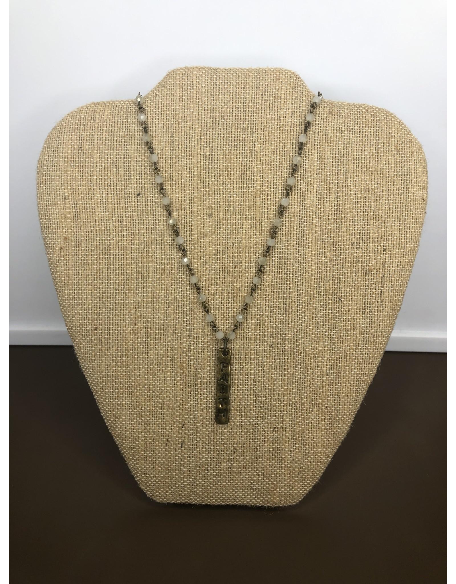 Pearl Milk Glass Faith Necklace