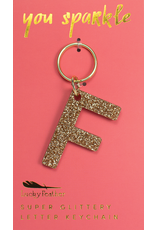 Lucky Feather Glitter Keychain Letter