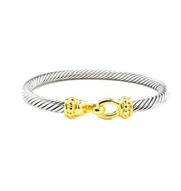 HR Fashion Jewelry Two Tone Twisted Cable Bracelet w/ Hook
