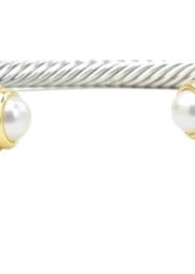HR Fashion Jewelry Two Tone Twisted Cable Pearl Bracelet