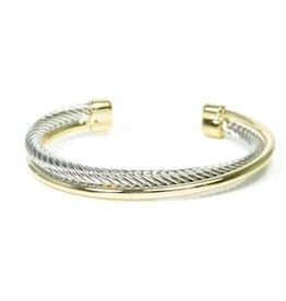 HR Fashion Jewelry Two Tone Twist Cable Open Cuff Bracelet