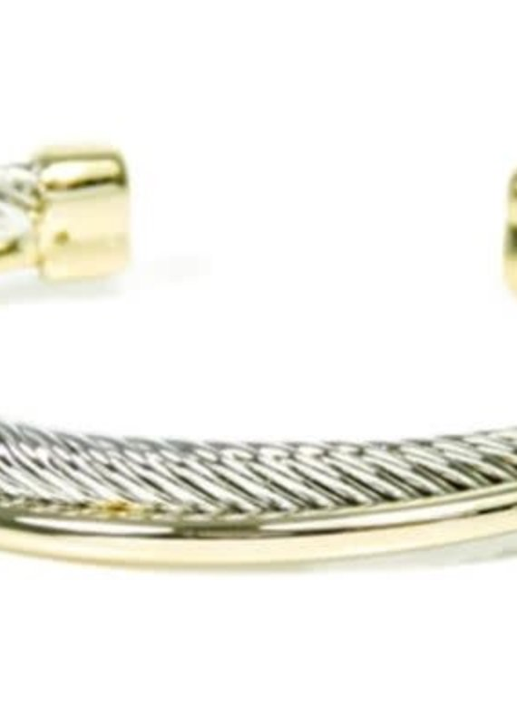 HR Fashion Jewelry Two Tone Twist Cable Open Cuff Bracelet