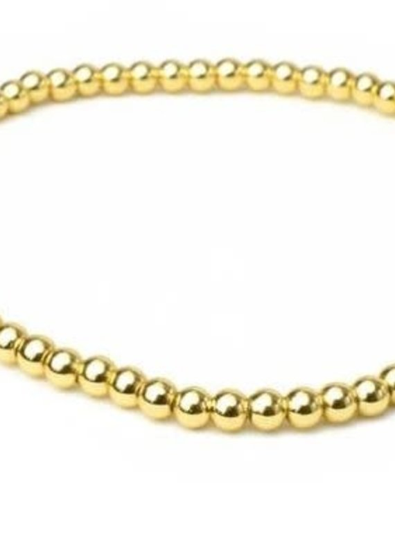 HR Fashion Jewelry Gold Beaded Stretch Bracelet