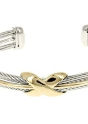 HR Fashion Jewelry Two Tone Twisted Open Cuff Bracelet
