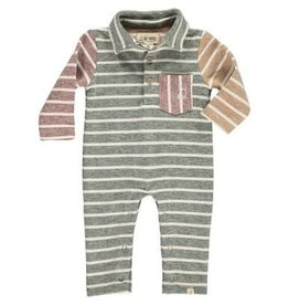 Me & Henry Green Multi Stripe Polo Romper