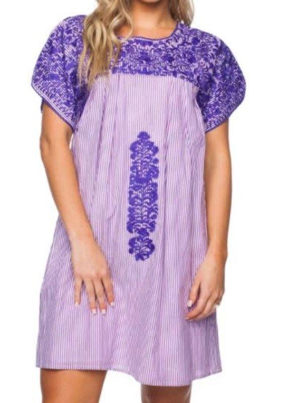 Buddy Love Purple Stripe Embroidered Dress-S