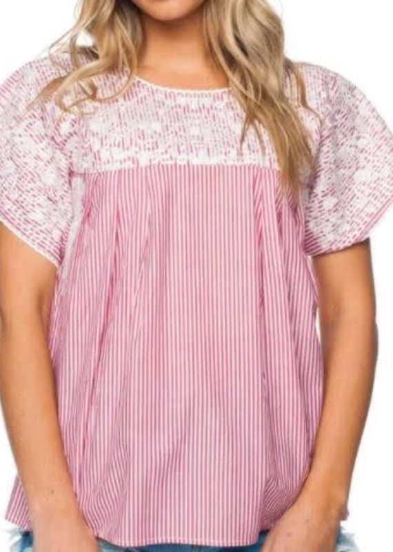 Buddy Love Stripe Embroidered Top