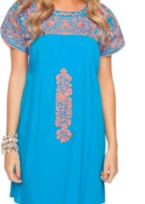 Buddy Love Teal Dress W/ Corral Accent