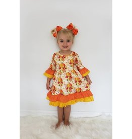 Clover Cottage Pumpkin Fall Floral Dress-4T