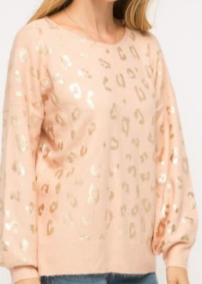 Mystree Inc. Shiny Leopard Sweater