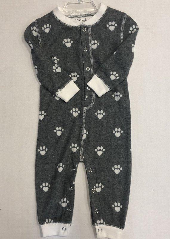 P.J Salvage Paw Print Pajama Romper-6/12M