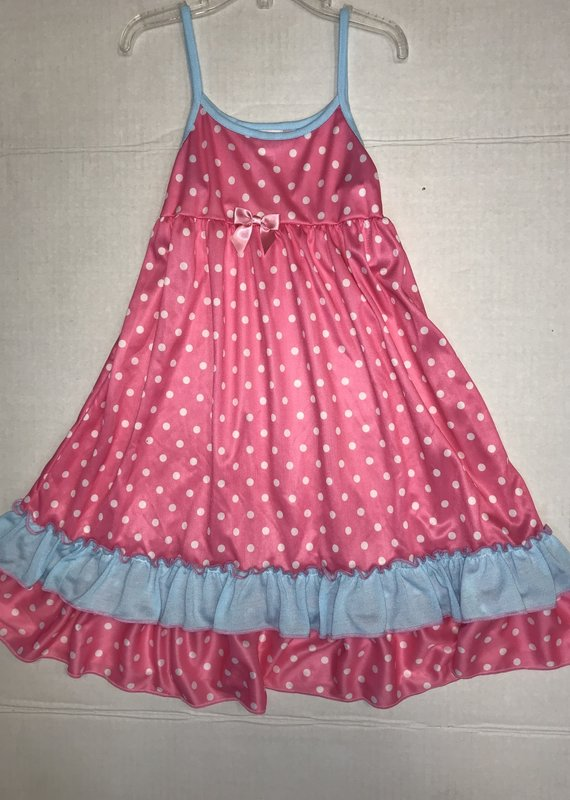 Laura Dare Pink Polka Dot Strap Gown