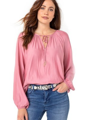 Liver Pool Shirred Blouse W/ Neck Ties