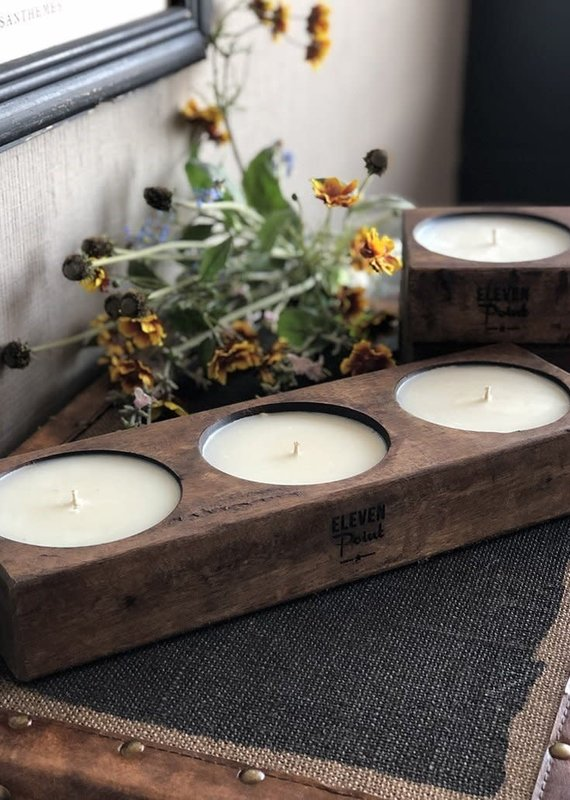 Eleven Point Compass Triple Spanish Oak Candle