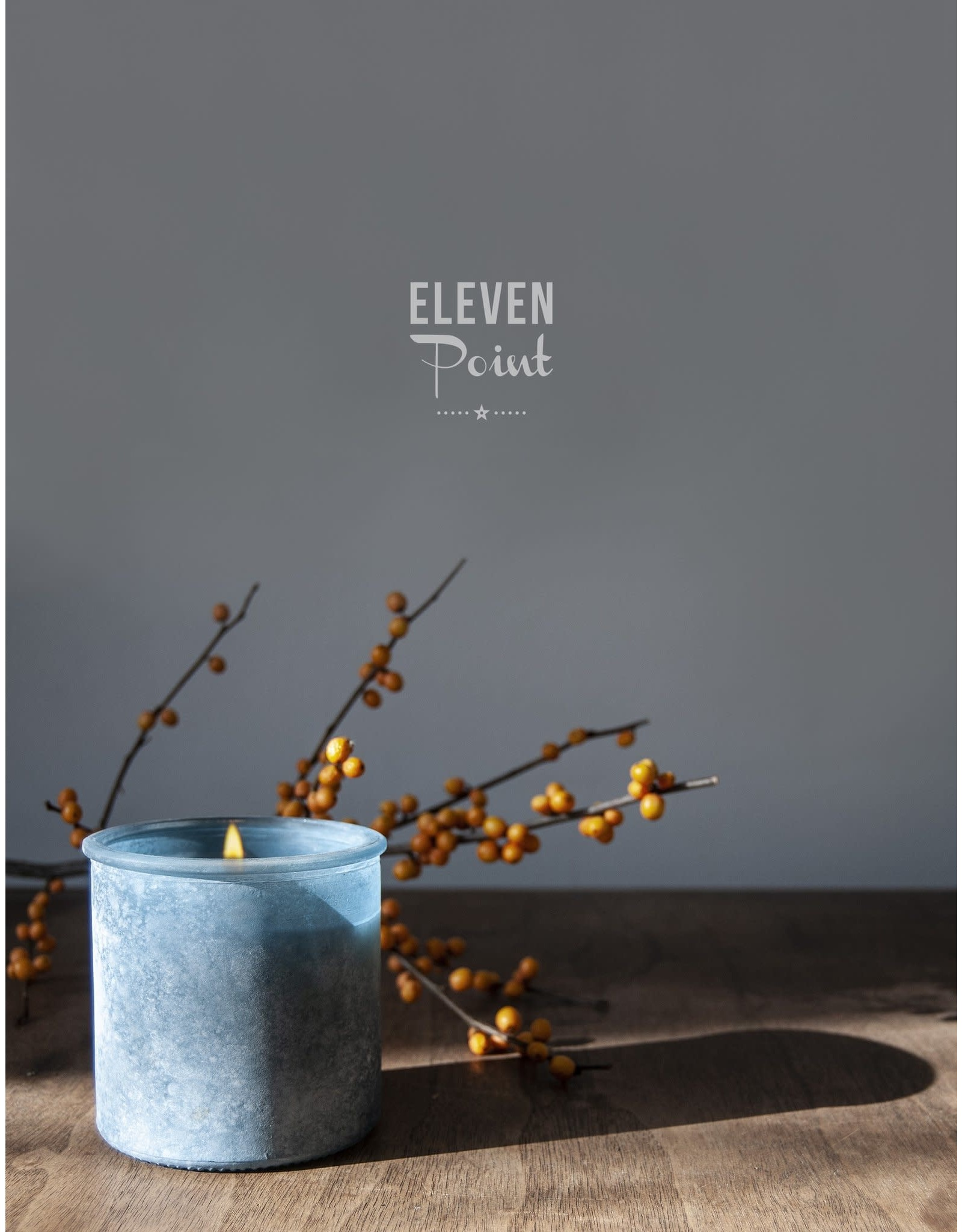 Eleven Point Cotton Creek River Rock Candle in Denim