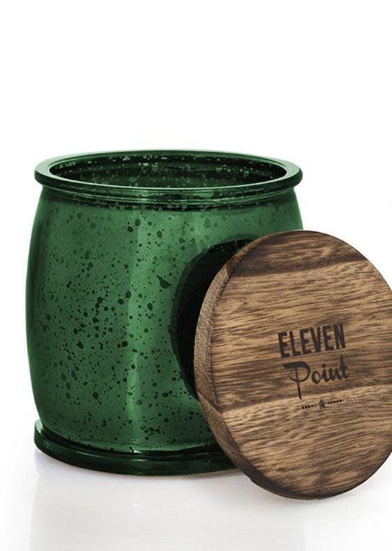 Eleven Point Tree Farm Mercury Barrel Candle in Green