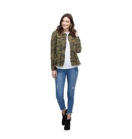 Mud Pie Banks Peplum Denim Jacket in Green Camo