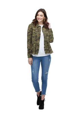 Mud Pie Banks Peplum Denim Jacket in Green Camo