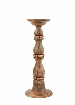 Mud Pie Small Beaded Wood Candlestick