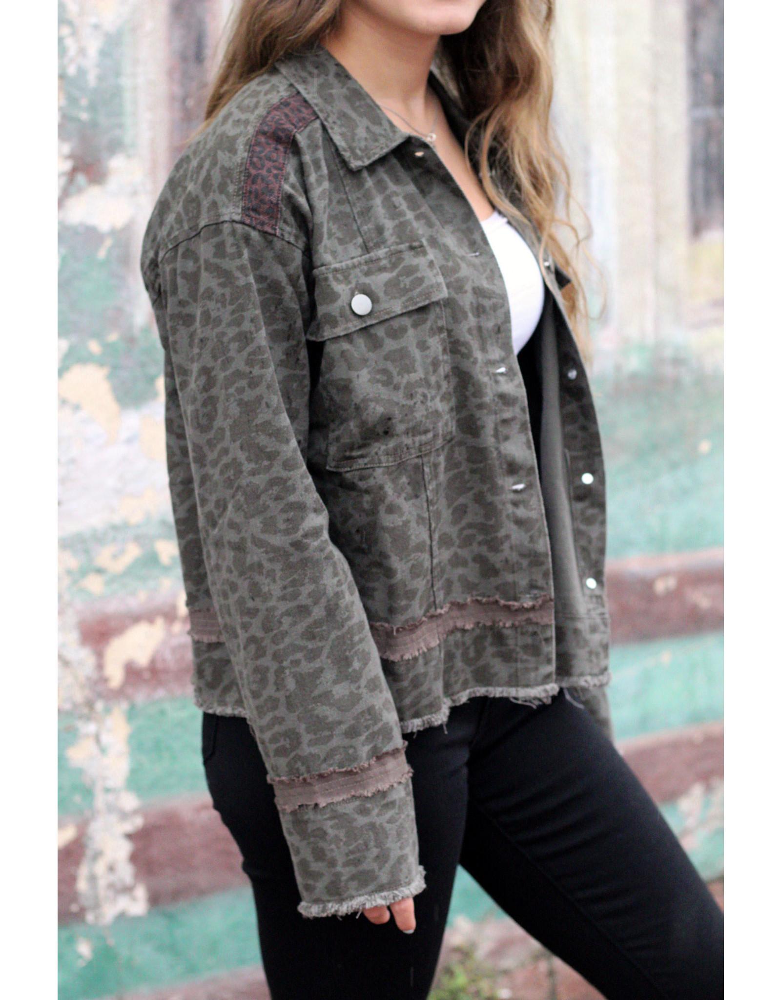 Mystree Inc. Acid Wash Leopard Jacket