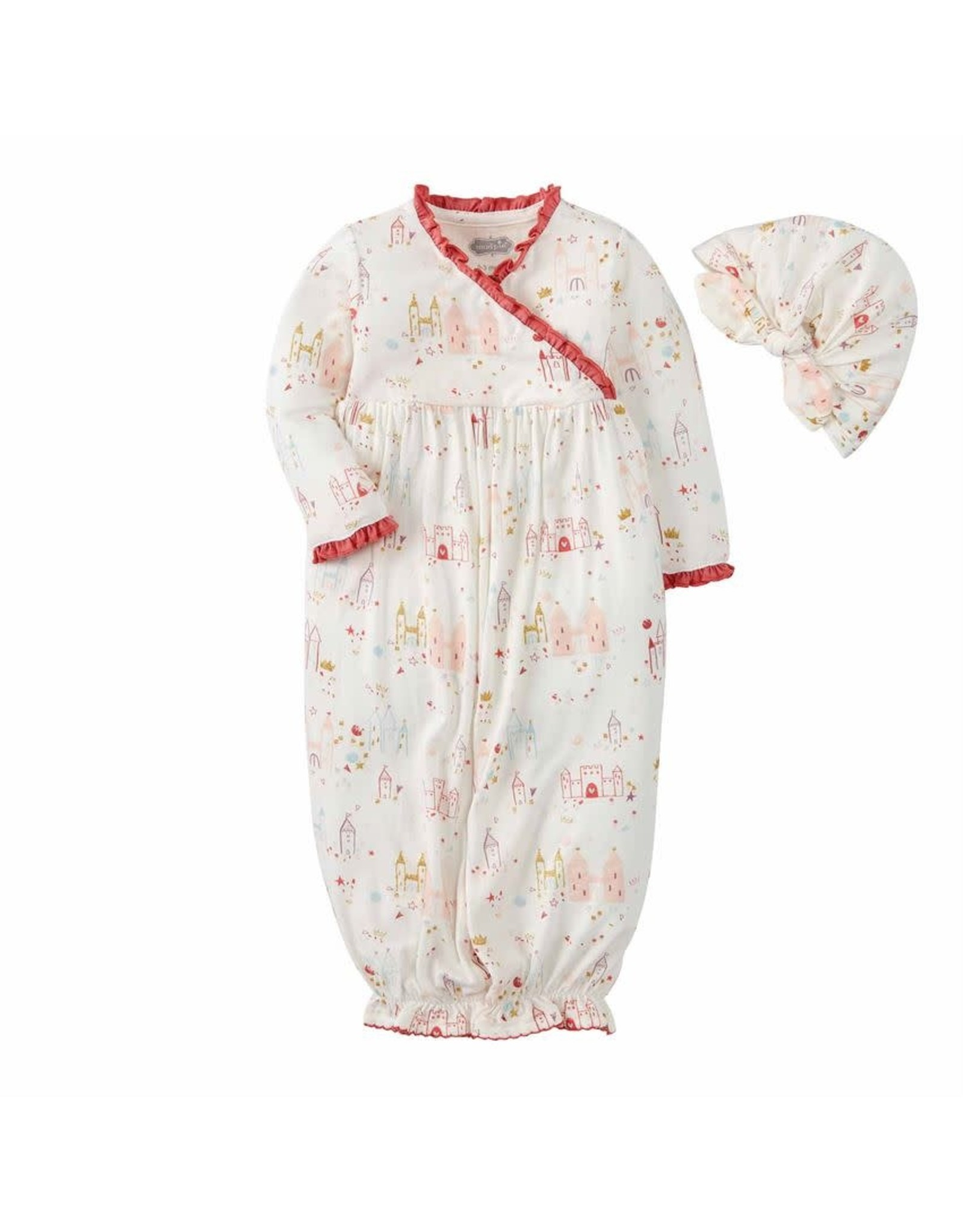Mud Pie Castle Sleeper Gown and Hat Set-0/3M