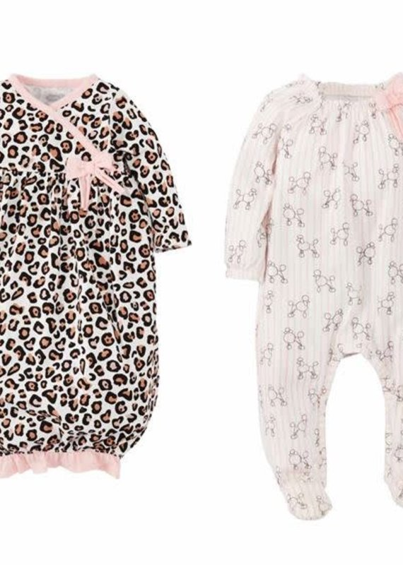 Mud Pie Leopard and Poodle Baby Sleeper Set-0/3M & 3/6M