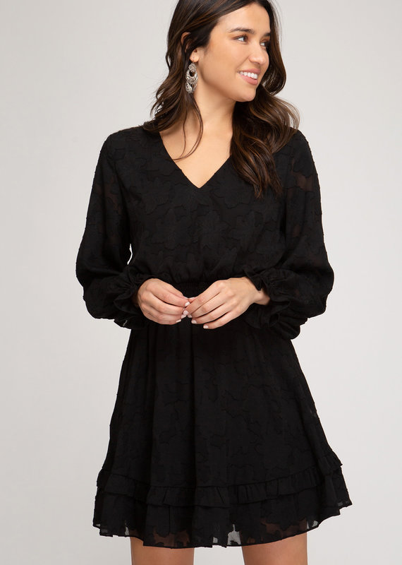 She+Sky Long Sleeve Woven Dress