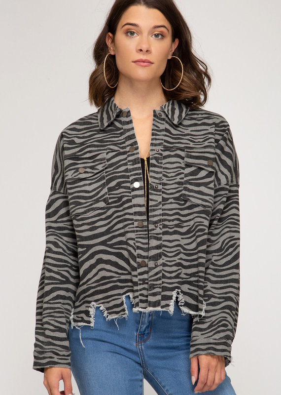 She+Sky Zebra Print Distressed Jacket