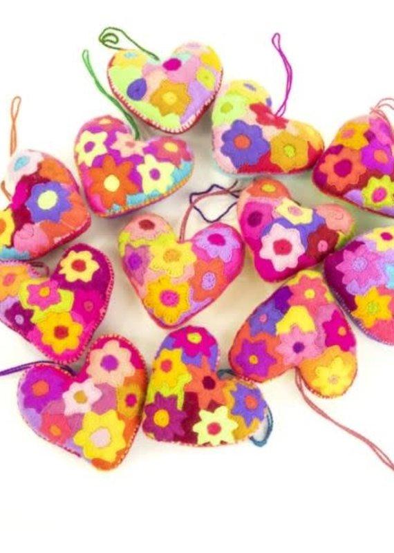 Nativa Heart Embroidered Ornament
