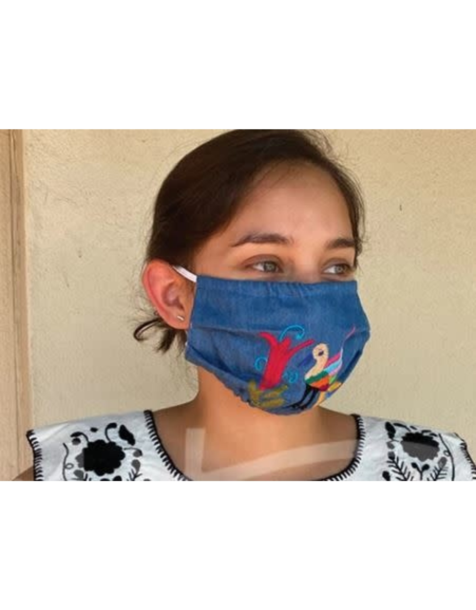 Nativa Denim Embroidered Face Mask