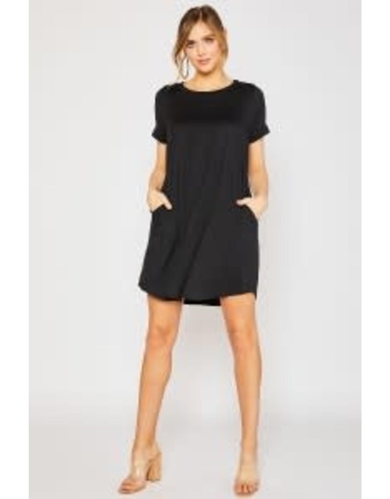 Mittoshop Black Knit Dress with Pockets