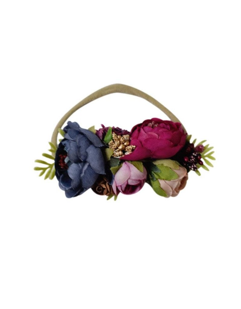 Bailey's Blossoms Floral Stretch Band-Fuchsia, Navy, & Mauve