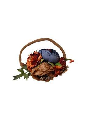 Bailey's Blossoms Floral Headband-Tan, Navy, & Orange