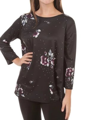 Jerell Clothing Company Plum Floral Reversible Long Sleeve Top