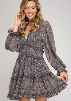 She+Sky Long Sleeve Printed Dress