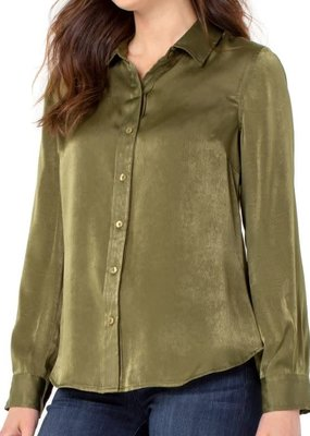 Liver Pool Olive Button Up Woven Blouse