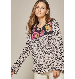 Savannah Jane Leopard Embroidered Bell Sleeve Top