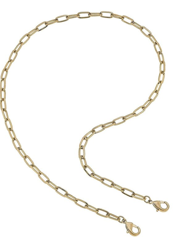 CANVAS Soleil Medium Paperclip Chain Mask Necklace-Gold