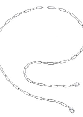CANVAS Soleil Large Paperclip Chain Mask Necklace-Silver