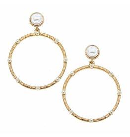 CANVAS Abby Drop Hoop Earrings in Ivory Pearl