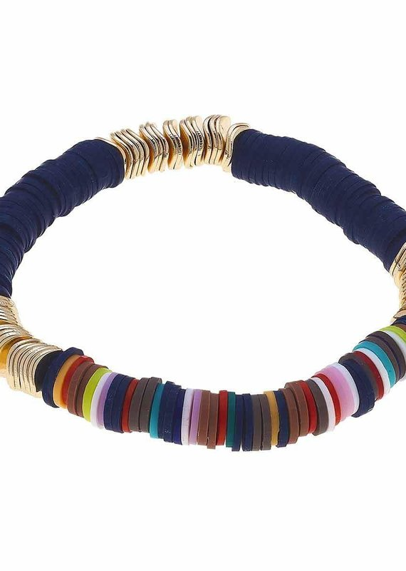CANVAS Emberly Color-Block Bracelet in Navy Autumn Multi Polymer Clay