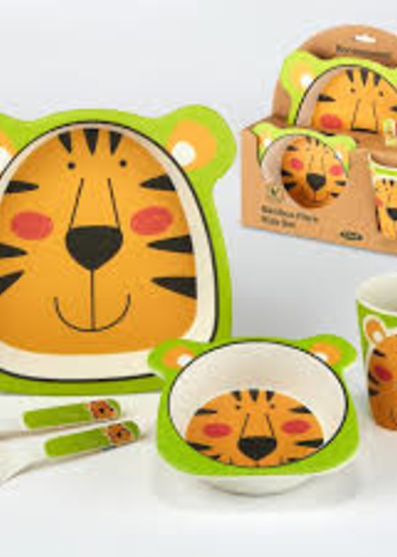 Certified International Corp. Tiger Bamboo Fiber 5pc Kids Dinnerware Set
