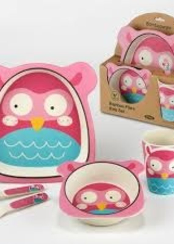 Certified International Corp. Owl Bamboo Fiber 5pc Kids Dinnerware Set