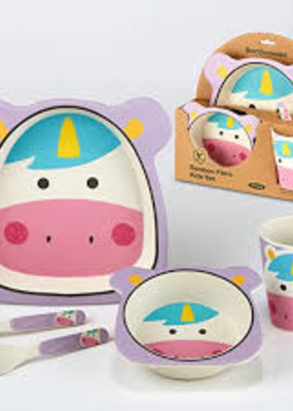 Certified International Corp. Unicorn Bamboo Fiber 5pc Kids Dinnerware Set