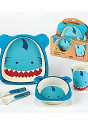 Certified International Corp. Shark Bamboo Fiber 5pc Kids Dinnerware Set